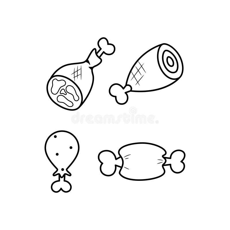 Czarny i biały mięso linii ikony set Karmowy logo ilustracja wektor
