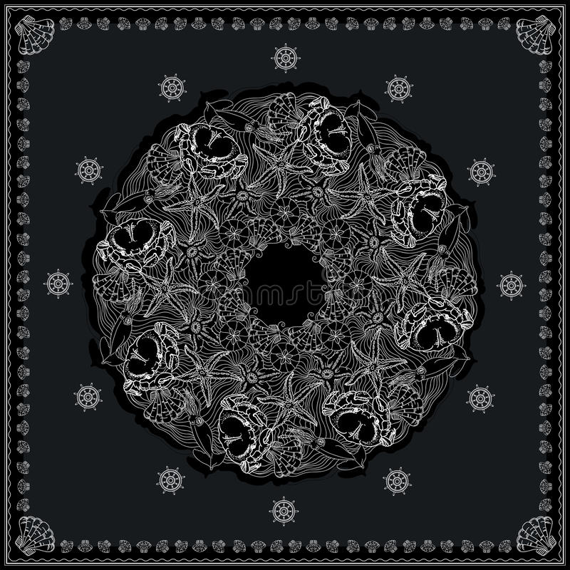 Czarny i biały morski bandana kwadrata wzoru projekt ilustracji