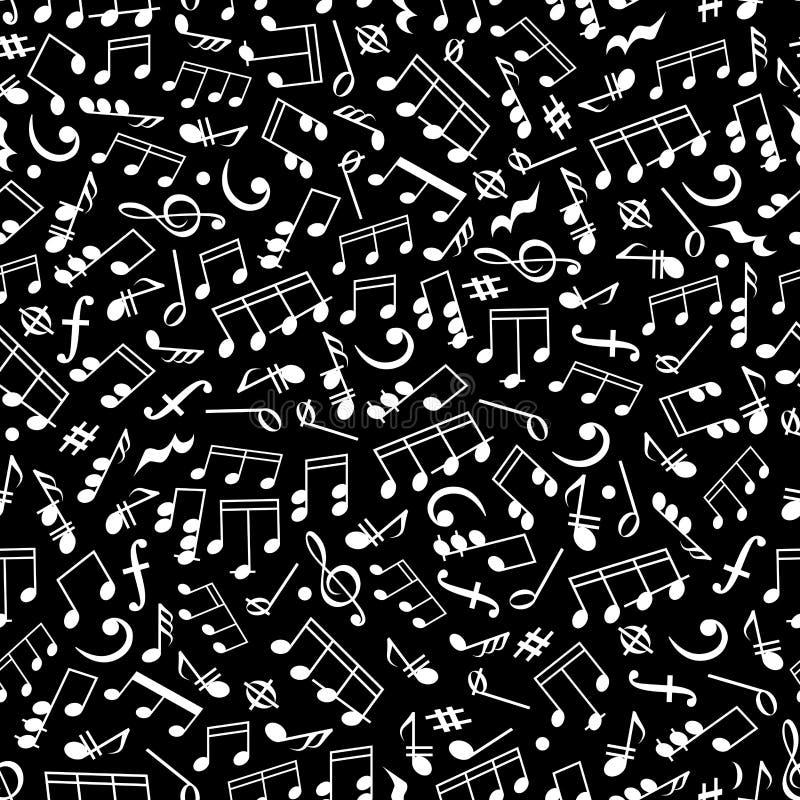 Czarny i biały muzyczny bezszwowy wzór z notatkami ilustracja wektor