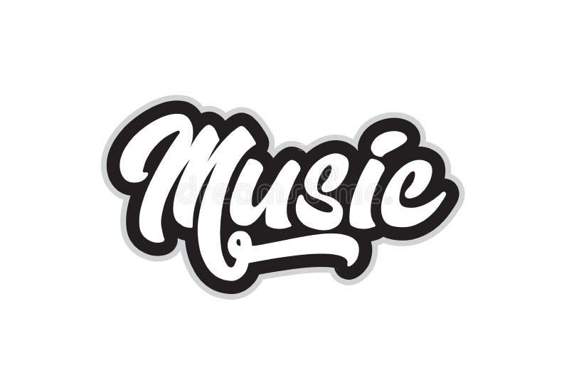 czarny i biały muzyczny ręki pisać słowa tekst dla typografia logo royalty ilustracja