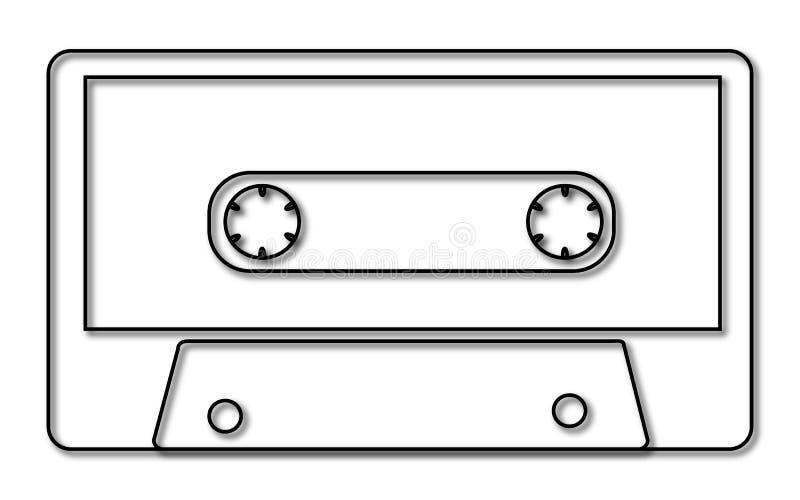 Czarny i biały muzyka, retro, modniś, stara, stara, antykwarska audio kaseta z cieniem od 80 s `, 90 s na białym tle ` ilustracji