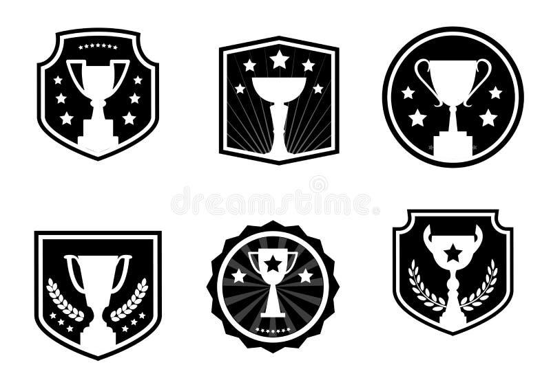Czarny i biały nagrody i filiżanki, etykietka, wektorowe ikony royalty ilustracja
