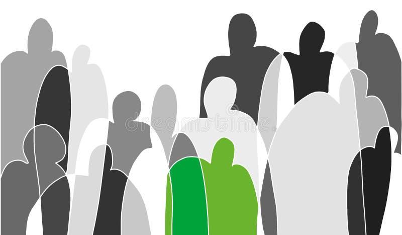Czarny i biały nakreślenie na temacie społeczeństwo Jeden ludzka postać podkreśla w zieleni skupiać się na osobowości Budować royalty ilustracja