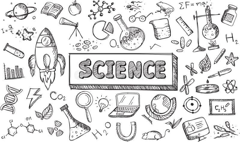 Czarny i biały nakreślenie nauki chemii physics biologii ikona ilustracja wektor