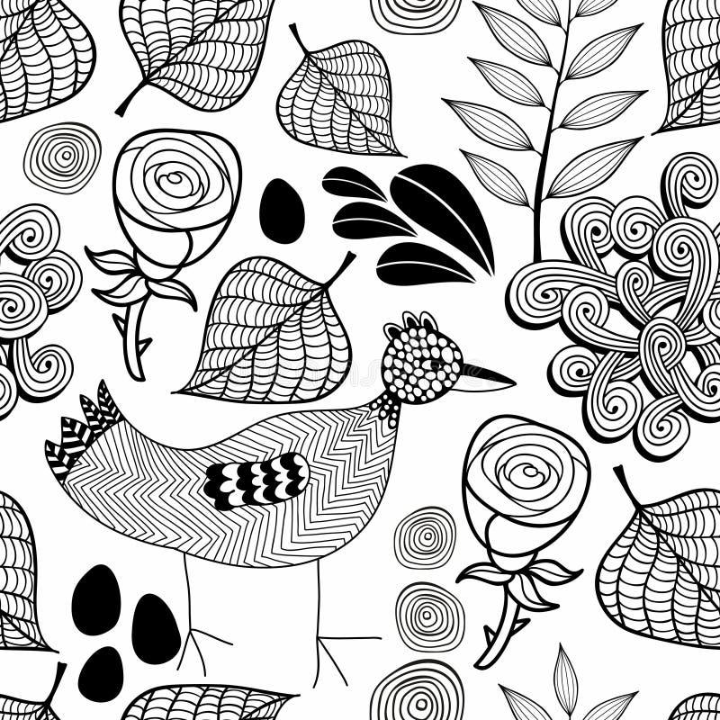 Czarny i biały niekończący się tło z natura elementami i doodle ptakiem ilustracji
