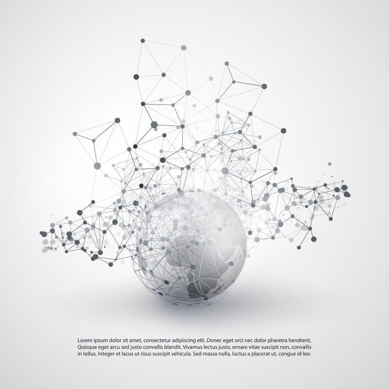 Czarny I Biały Nowożytnego Minimalnego stylu Obłoczny Obliczać, sieci struktura, telekomunikaci pojęcia projekt, sieć związki ilustracji