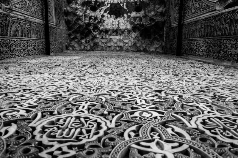 Czarny i biały obrazek muzułmański stiuk Alhambra Granada fotografia stock
