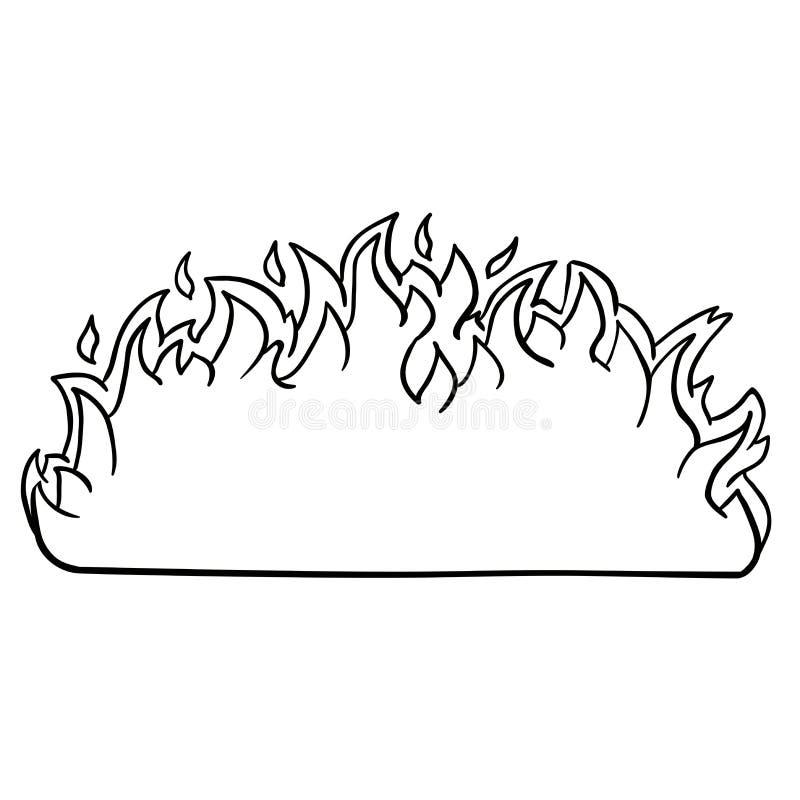 Czarny i biały ogień granica ilustracji