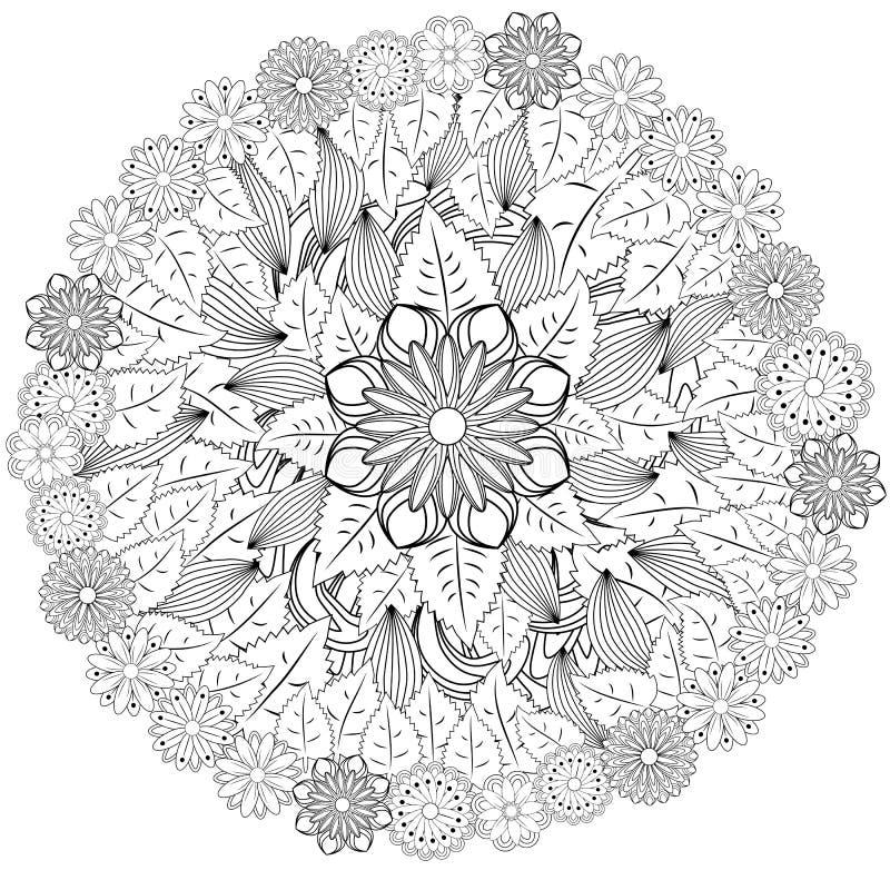 Czarny i biały okręgu kwiatu ornament, ornamentacyjny round koronki projekt Kwiecisty mandala Ręka rysujący atramentu wzór robić  royalty ilustracja