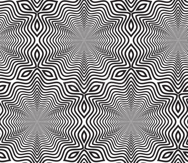 Czarny I Biały Op sztuki projekta Wektorowy Bezszwowy Deseniowy tło ilustracja wektor