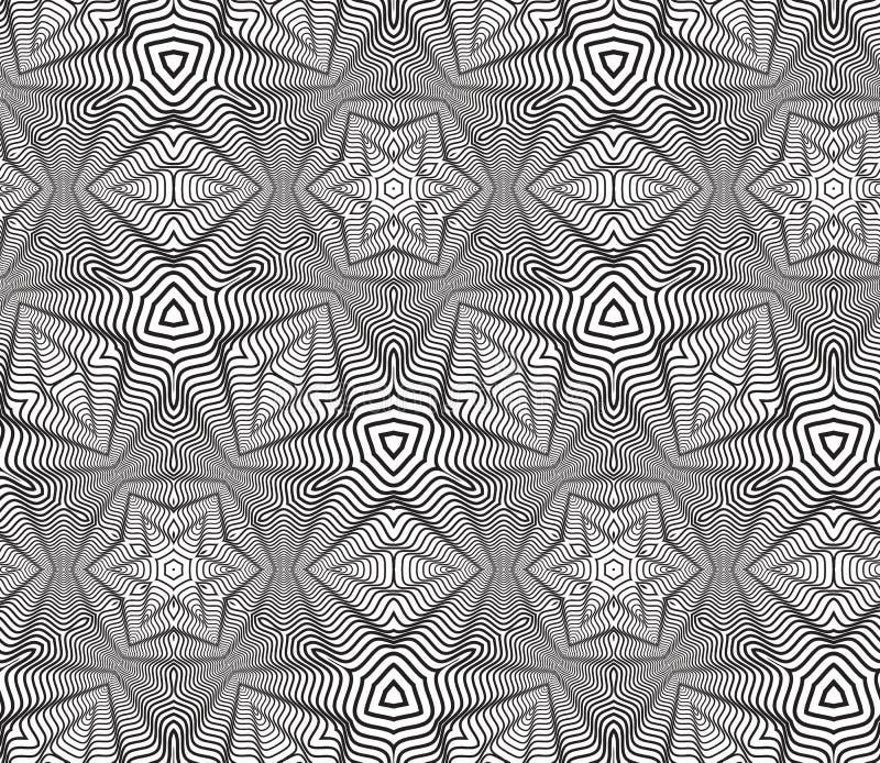Czarny I Biały Op sztuki projekta Wektorowy Bezszwowy Deseniowy tło ilustracji