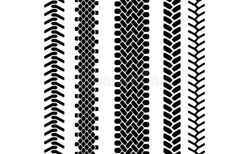 Czarny i biały opony stąpania ochraniacza śladu bezszwowy wzór, wektoru set royalty ilustracja