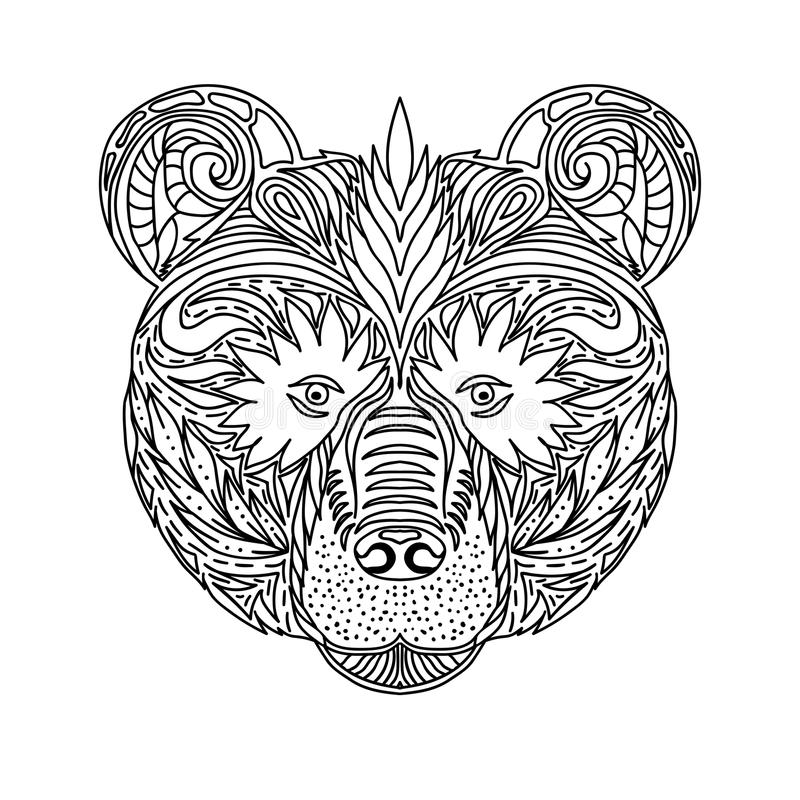 Czarny i biały ornament stawia czoło dzikiej bestii lasowy niedźwiedź, ornamentacyjny koronkowy projekt Strona dla dorosłych kolo ilustracji
