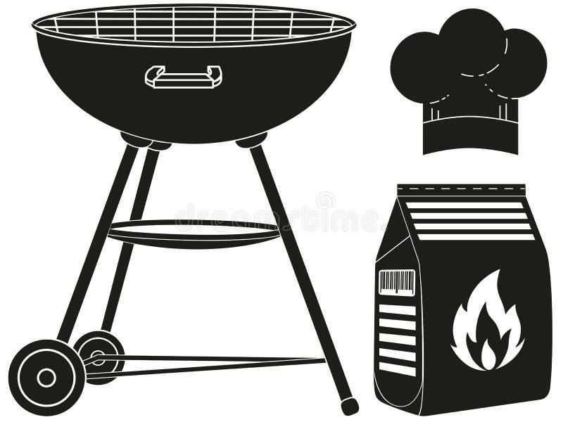 Czarny i biały outdoors sylwetki kulinarny set ilustracja wektor