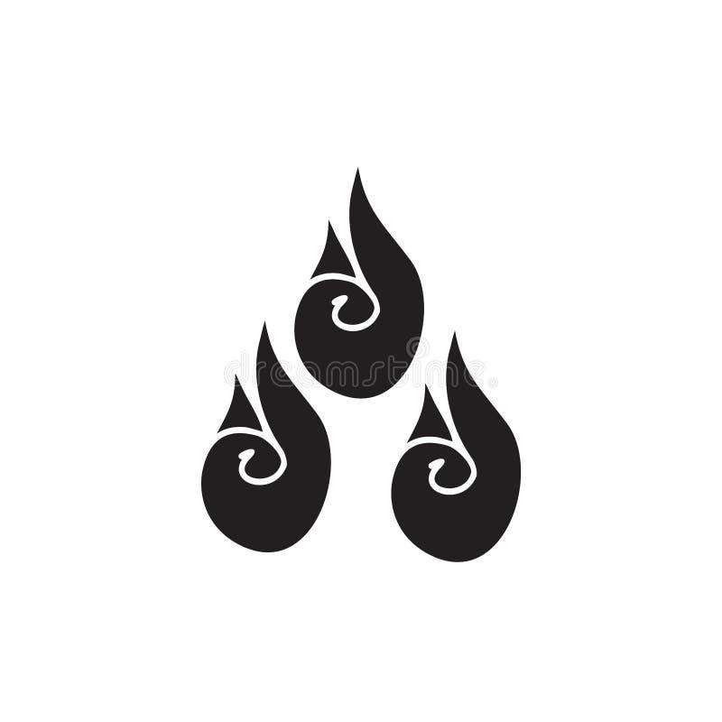 Czarny i biały płomienia symbol ilustracja wektor