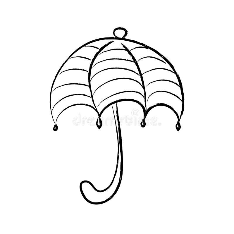 Czarny i biały parasol z lampasami ilustracja wektor