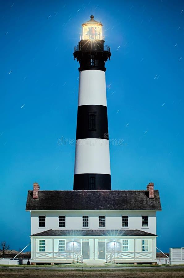 Czarny i biały pasiasta latarnia morska przy Bodie wyspą na zewnętrznym obraz stock