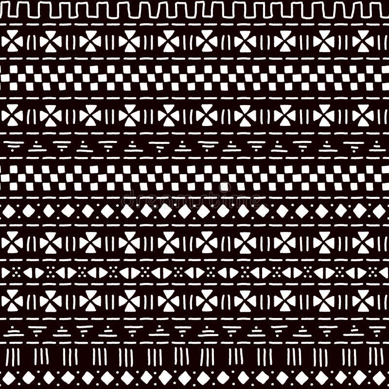 Czarny i biały pasiastej ornamentu mudcloth tradycyjnej afrykańskiej tkaniny bezszwowy wzór, wektor ilustracja wektor