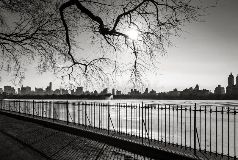 Czarny I Biały pejzaż miejski w zimie Nowy Yo - Manhattan linia horyzontu - zdjęcia stock