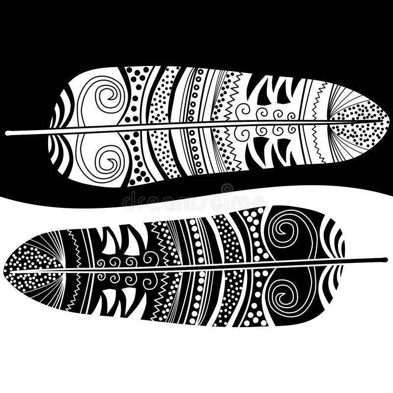 Czarny i biały piórka ilustracji