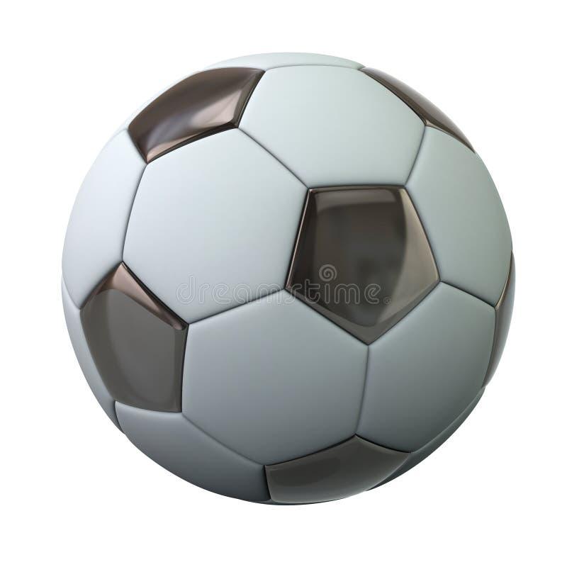 Czarny i biały piłki nożnej piłki 3d ilustracja ilustracja wektor