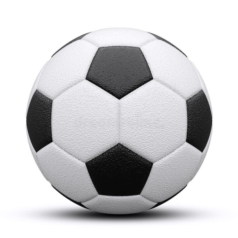 Czarny i biały piłki nożnej piłka z cieniem Odizolowywający na bielu 3 d czynią obrazy stock
