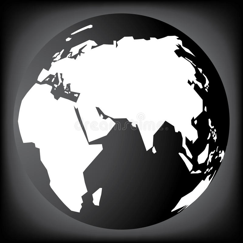 Czarny i biały planety ziemia royalty ilustracja