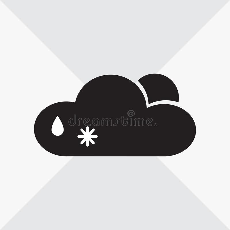 Czarny i biały pogodowa ikona Chmura, słońce, wody kropla, płatek śniegu wektor royalty ilustracja
