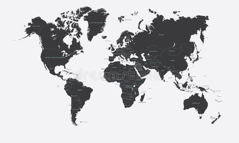 Czarny i biały polityczna mapa światowy wektor ilustracja wektor