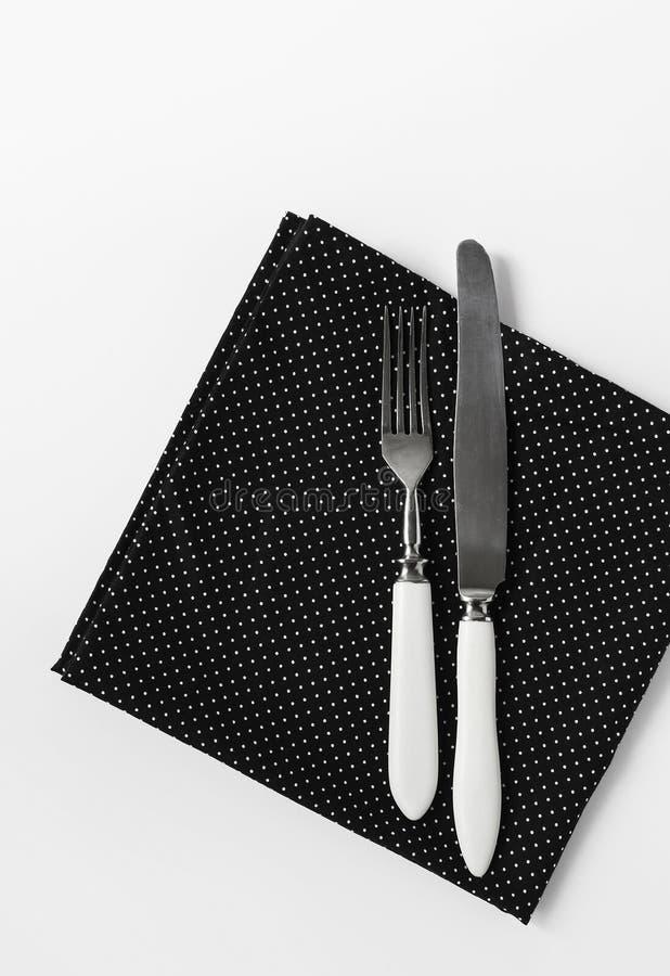 Czarny i biały polki kropki pielucha i rocznika cutlery set obrazy royalty free