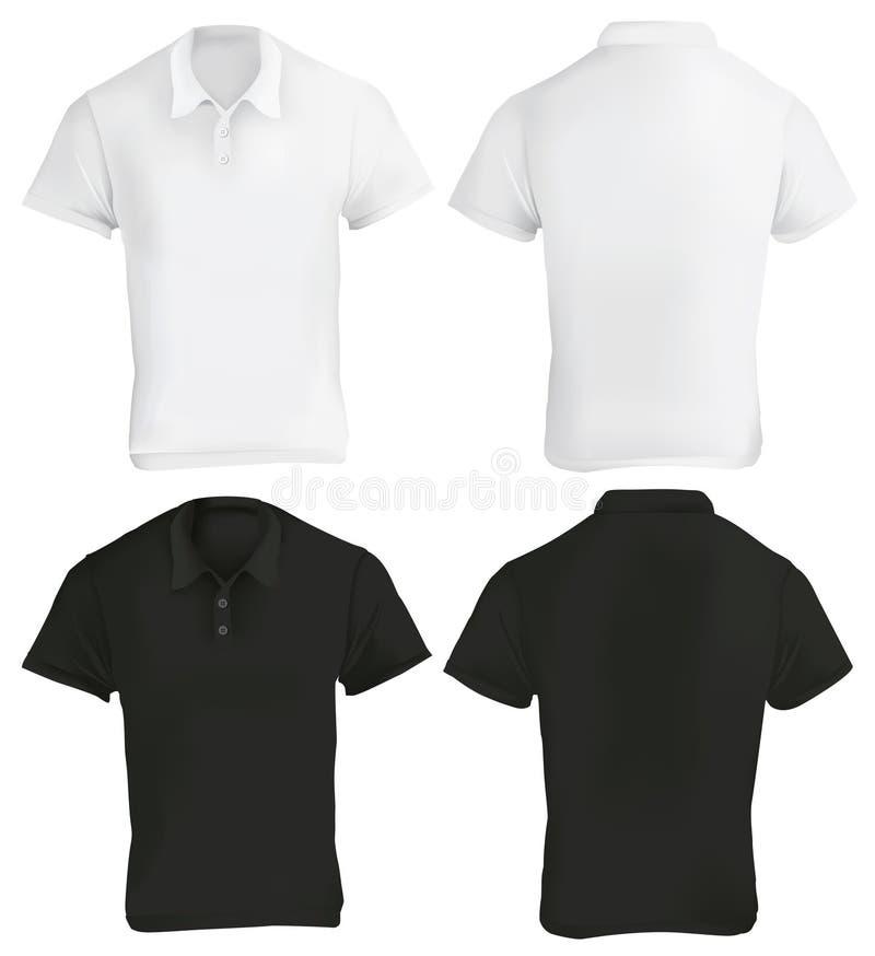 Czarny I Biały polo koszula projekta szablon ilustracja wektor