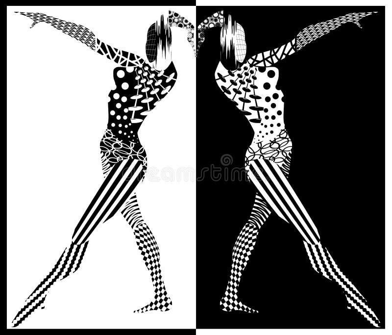 Czarny i biały postacie kobiety ilustracji