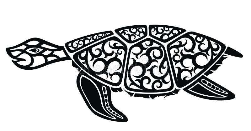 Czarny i biały projekt żółw ilustracja wektor