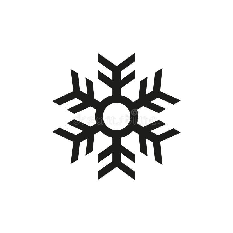 Czarny i biały prosta wektorowa płatka śniegu konturu ikona ilustracja wektor