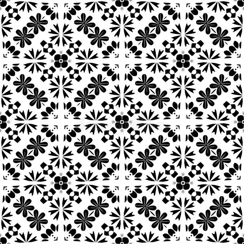 Czarny i biały prostego gwiazdowego kształta geometryczny bezszwowy wzór, wektorowego Czarny i biały prostego gwiazdowego kształt ilustracja wektor