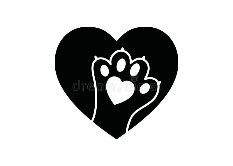Czarny i biały prosty logo z zwierzęcą łapą w sercu ilustracja wektor