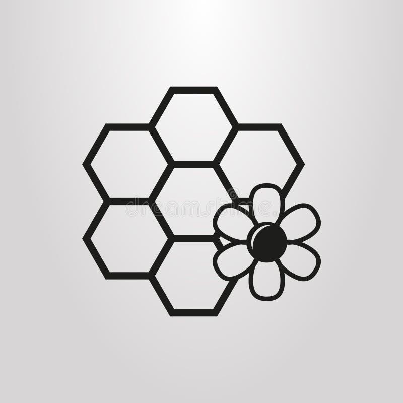 Czarny i biały prosty wektorowy piktogram honeycombs i kwiat ilustracji