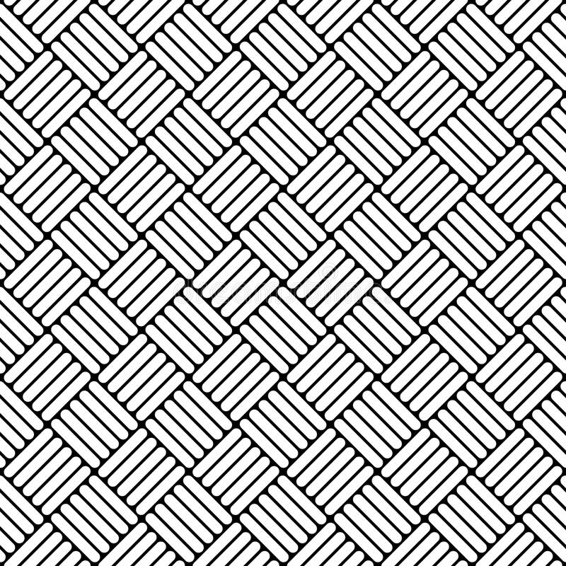 Czarny i biały prosty wyplatający geo bezszwowy wzór, wektor royalty ilustracja