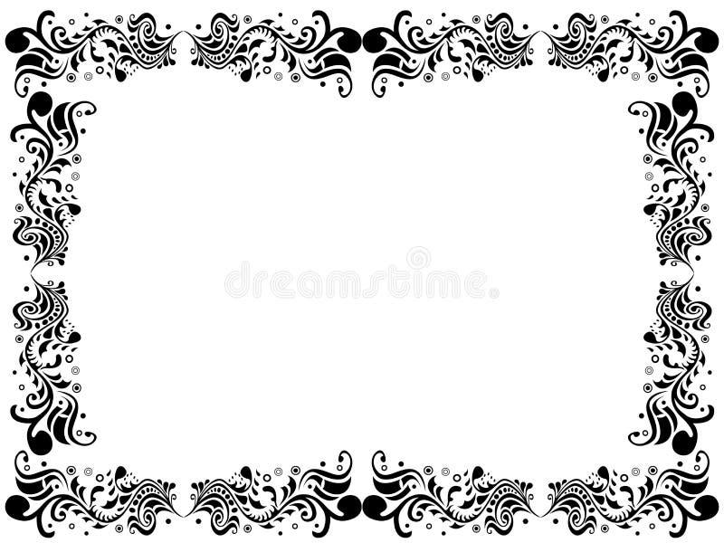 Czarny i biały puste miejsce granica z kwiecistymi elementami ilustracja wektor
