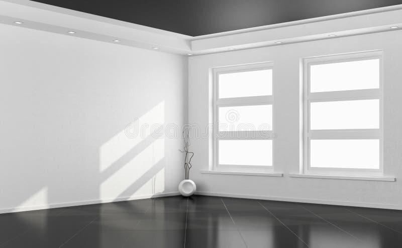 Czarny i biały pusty pokój ilustracji