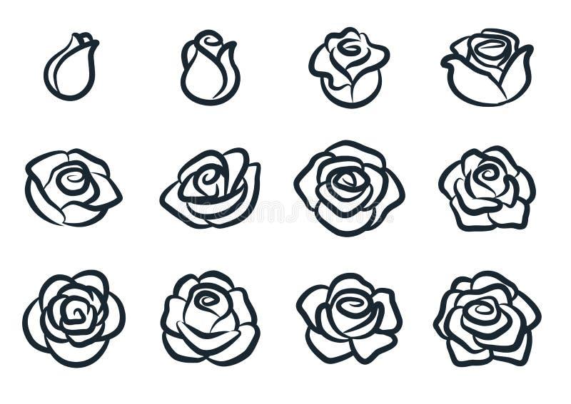 Czarny i biały róża kwiatu wektoru ilustracja Prosty róży okwitnięcia ikony set Natura, ogrodnictwo, miłość, walentynka dnia tema ilustracja wektor