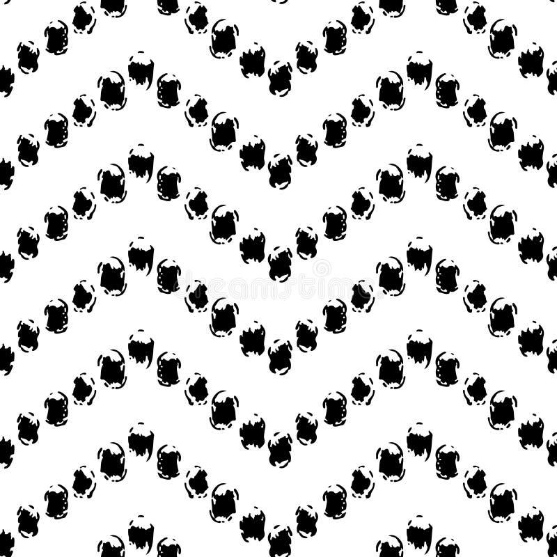 Czarny i biały ręka malujący kropka szewronu ornamentu grunge bezszwowy wzór, wektor ilustracji