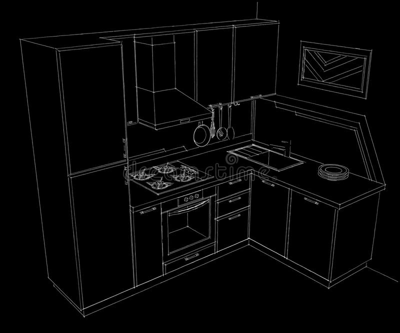 Czarny i biały ręka rysująca ilustracja mały narożnikowy kuchenny wnętrze z budujący w fridge ilustracji