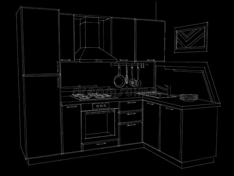 Czarny i biały ręka rysująca ołówkowa ilustracja narożnikowa kuchnia z budujący w fridge ilustracji