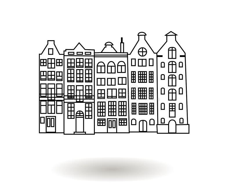 Czarny i biały ręka rysująca wektorowa ilustracja multistory miasto budynki, śródmieście domy royalty ilustracja