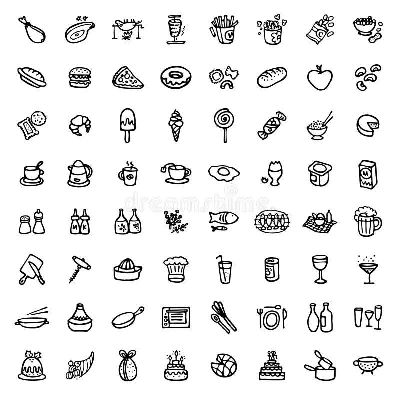 64 czarny i biały ręka rysującej ikony - jedzenie & kucharstwo ilustracja wektor