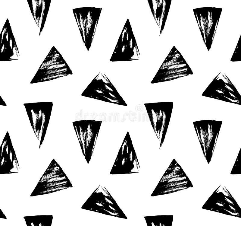 Czarny i biały ręka rysujący trójboka wzór ilustracja wektor