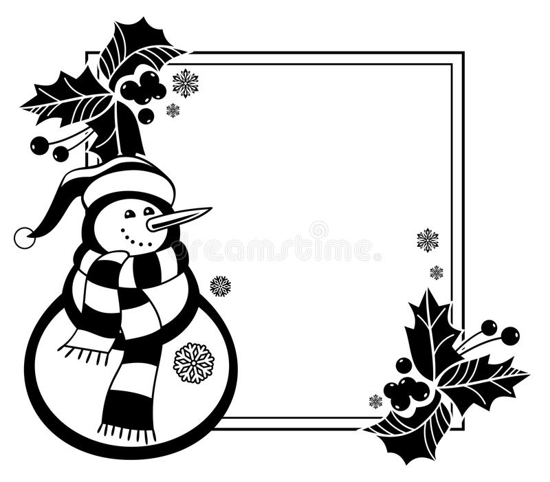 Czarny i biały rama z śmiesznym bałwanem, uświęconymi jagodami i sosna rożkami, royalty ilustracja