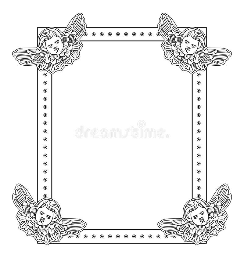 Czarny i biały rama z konturu aniołeczkiem w rocznika stylu ilustracja wektor