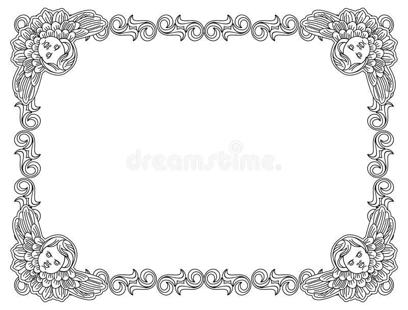 Czarny i biały rama z konturu aniołeczkiem w rocznika stylu ilustracji